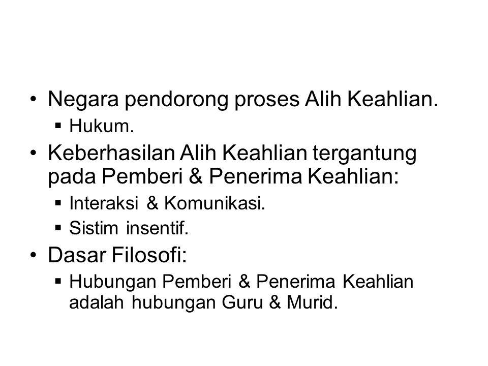 •Negara pendorong proses Alih Keahlian. Hukum.