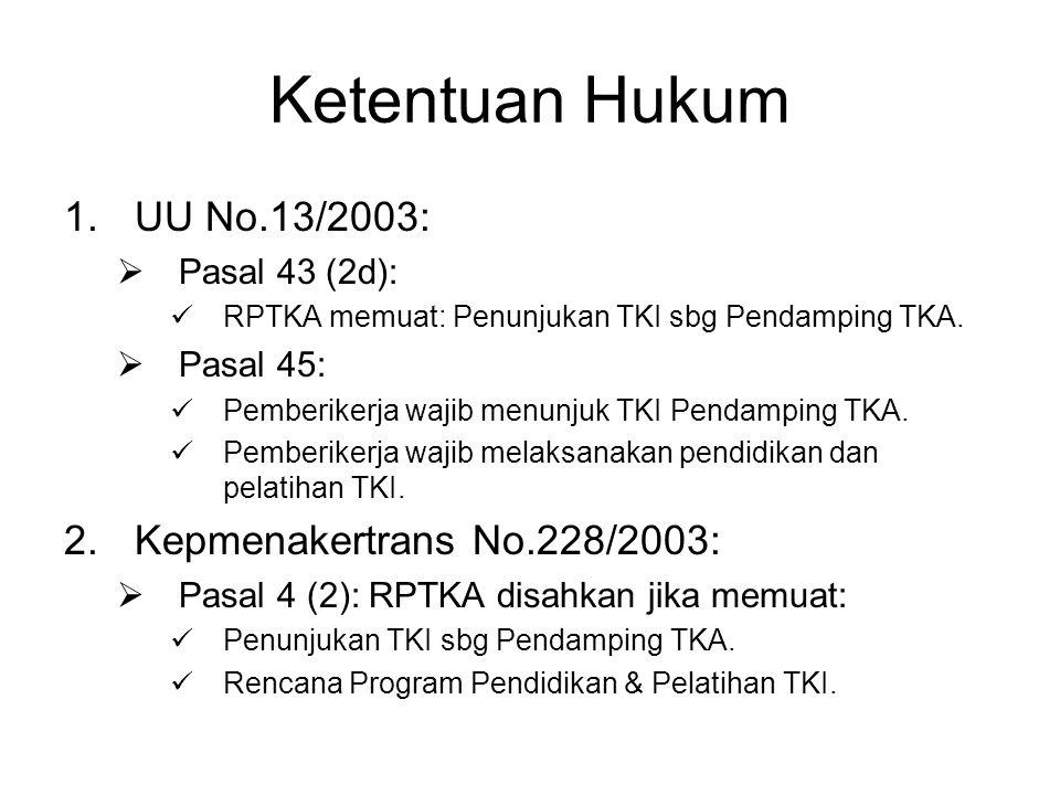 Ketentuan Hukum 1.UU No.13/2003:  Pasal 43 (2d):  RPTKA memuat: Penunjukan TKI sbg Pendamping TKA.