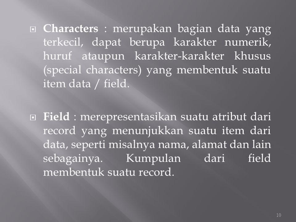  Characters : merupakan bagian data yang terkecil, dapat berupa karakter numerik, huruf ataupun karakter-karakter khusus (special characters) yang me