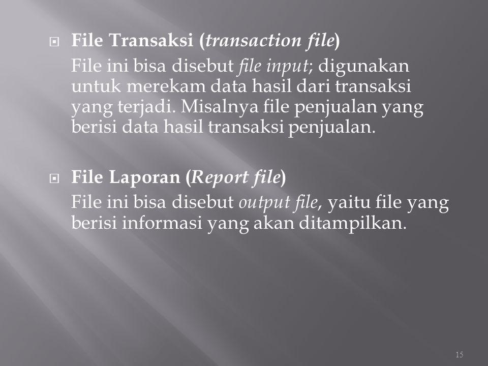  File Transaksi ( transaction file ) File ini bisa disebut file input ; digunakan untuk merekam data hasil dari transaksi yang terjadi. Misalnya file