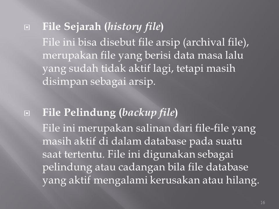  File Sejarah ( history file ) File ini bisa disebut file arsip (archival file), merupakan file yang berisi data masa lalu yang sudah tidak aktif lag