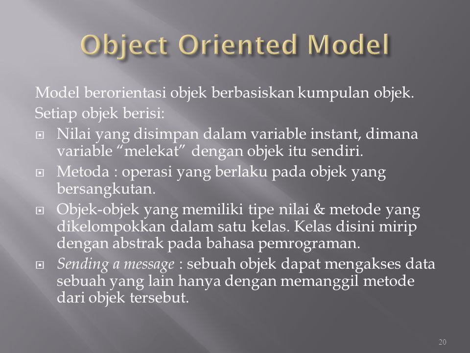 """Model berorientasi objek berbasiskan kumpulan objek. Setiap objek berisi:  Nilai yang disimpan dalam variable instant, dimana variable """"melekat"""" deng"""