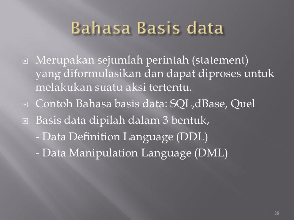  Merupakan sejumlah perintah (statement) yang diformulasikan dan dapat diproses untuk melakukan suatu aksi tertentu.  Contoh Bahasa basis data: SQL,