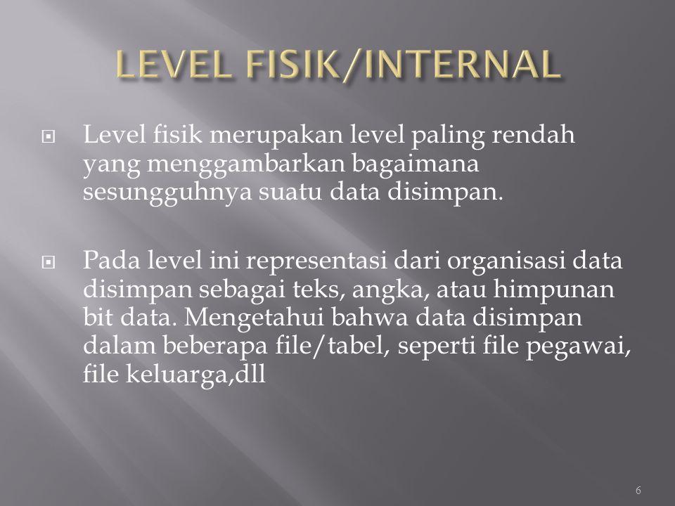  Level fisik merupakan level paling rendah yang menggambarkan bagaimana sesungguhnya suatu data disimpan.  Pada level ini representasi dari organisa