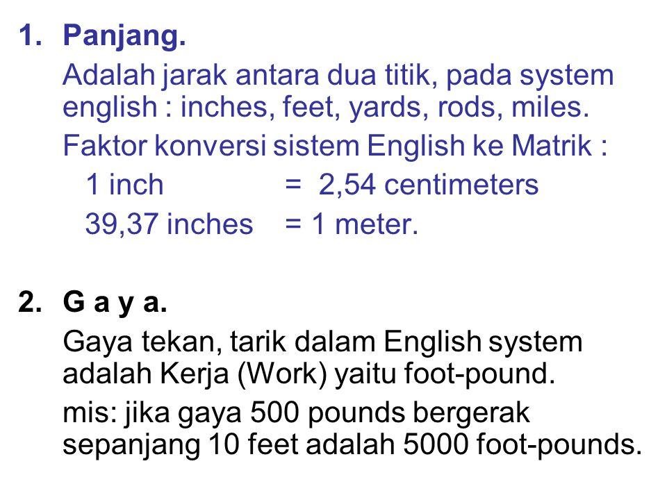 1.Panjang. Adalah jarak antara dua titik, pada system english : inches, feet, yards, rods, miles. Faktor konversi sistem English ke Matrik : 1 inch =