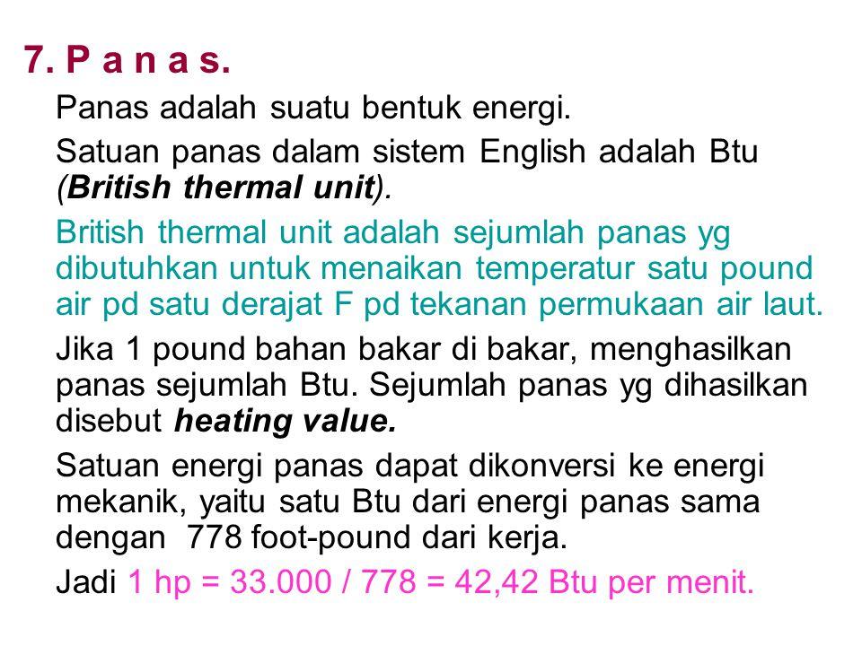 7. P a n a s. Panas adalah suatu bentuk energi. Satuan panas dalam sistem English adalah Btu (British thermal unit). British thermal unit adalah sejum