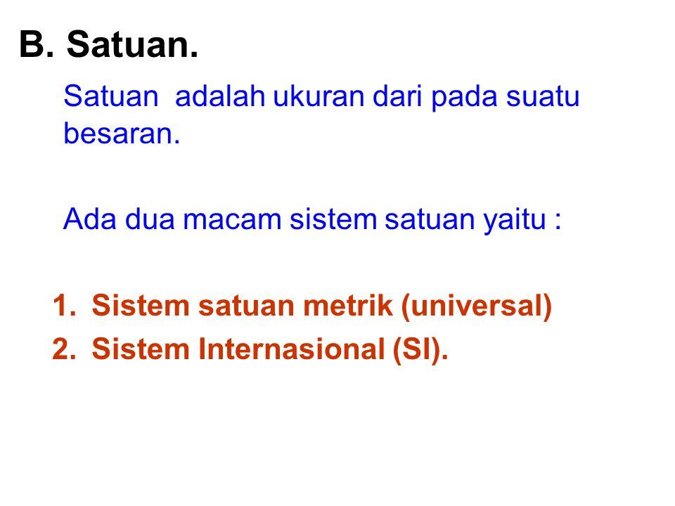 a.Sistem satuan metrik (universal), yaitu : Satuan Panjang dalam meter (m).
