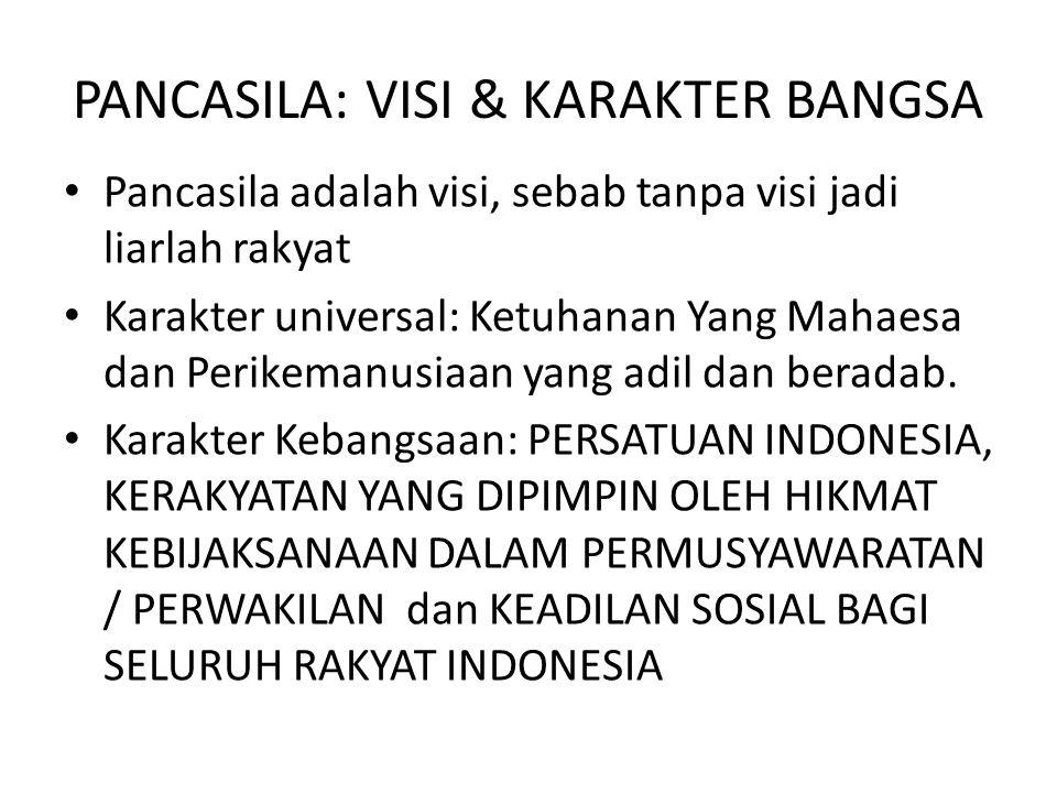 PANCASILA: VISI & KARAKTER BANGSA • Pancasila adalah visi, sebab tanpa visi jadi liarlah rakyat • Karakter universal: Ketuhanan Yang Mahaesa dan Perik
