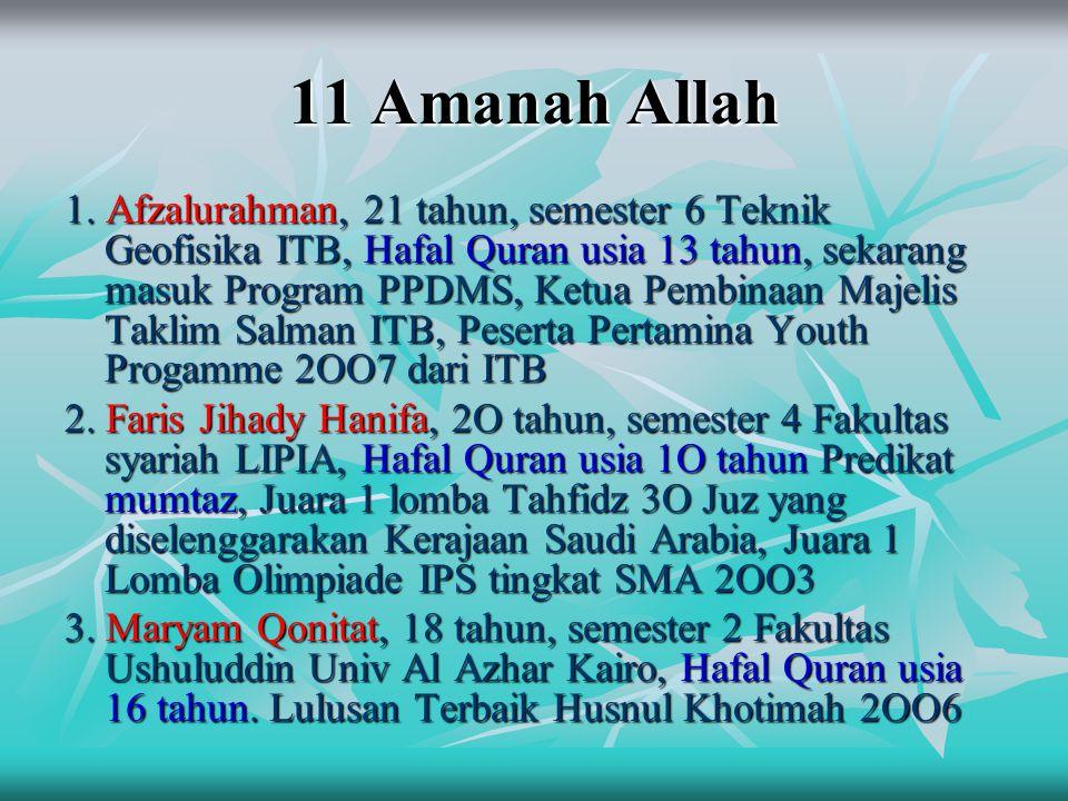 11 Amanah Allah 1. Afzalurahman, 21 tahun, semester 6 Teknik Geofisika ITB, Hafal Quran usia 13 tahun, sekarang masuk Program PPDMS, Ketua Pembinaan M