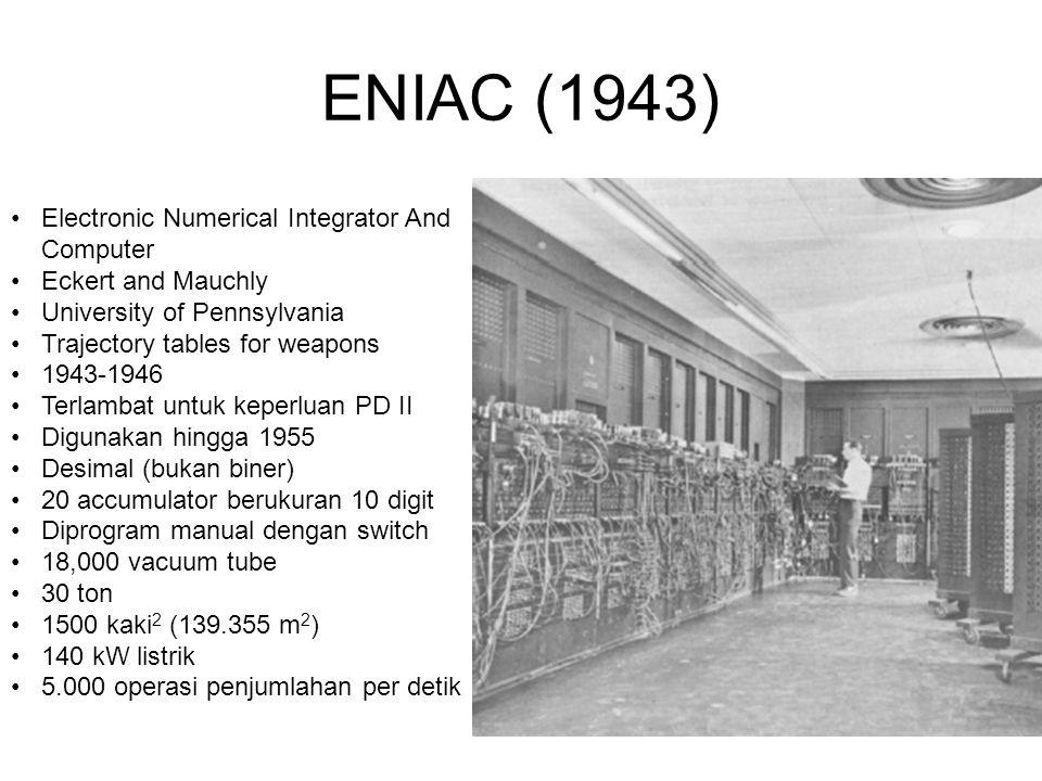 ENIAC (1943) •Electronic Numerical Integrator And Computer •Eckert and Mauchly •University of Pennsylvania •Trajectory tables for weapons •1943-1946 •Terlambat untuk keperluan PD II •Digunakan hingga 1955 •Desimal (bukan biner) •20 accumulator berukuran 10 digit •Diprogram manual dengan switch •18,000 vacuum tube •30 ton •1500 kaki 2 (139.355 m 2 ) •140 kW listrik •5.000 operasi penjumlahan per detik