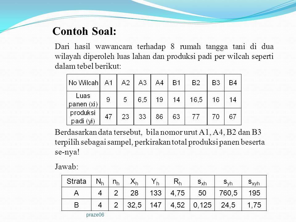 praze06 Contoh Soal: Dari hasil wawancara terhadap 8 rumah tangga tani di dua wilayah diperoleh luas lahan dan produksi padi per wilcah seperti dalam