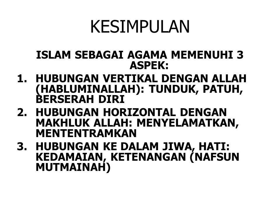 KESIMPULAN ISLAM SEBAGAI AGAMA MEMENUHI 3 ASPEK: 1.HUBUNGAN VERTIKAL DENGAN ALLAH (HABLUMINALLAH): TUNDUK, PATUH, BERSERAH DIRI 2.HUBUNGAN HORIZONTAL