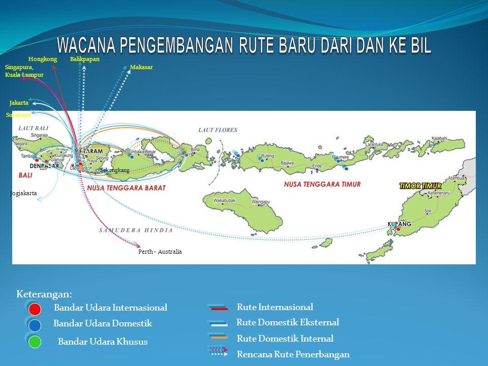 Jakarta Makasar Perth - Australia Sekongkang Singapura, Kuala Lumpur Surabaya Keterangan: Bandar Udara Internasional Bandar Udara Domestik Bandar Udara Khusus Rute Internasional Rute Domestik Eksternal Rute Domestik Internal Rencana Rute Penerbangan Balikpapan Jogjakarta Hongkong