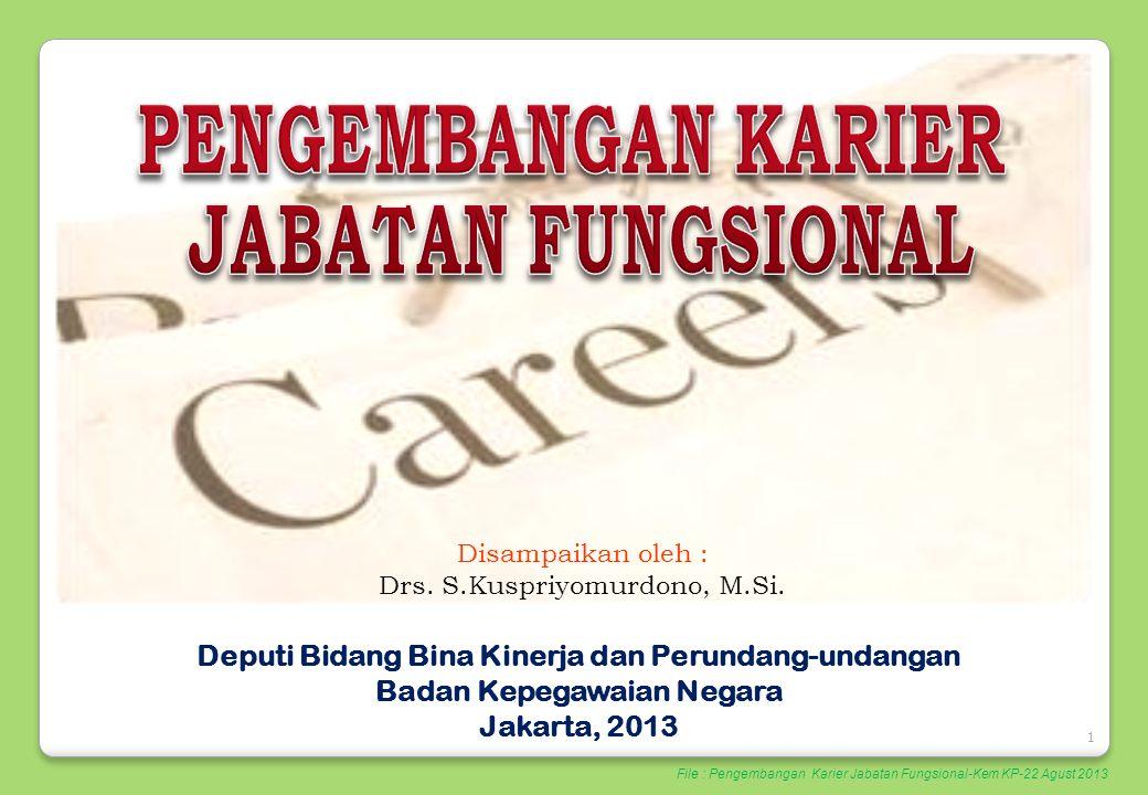 1 Disampaikan oleh : Drs. S.Kuspriyomurdono, M.Si. Deputi Bidang Bina Kinerja dan Perundang-undangan Badan Kepegawaian Negara Jakarta, 2013 File : Pen