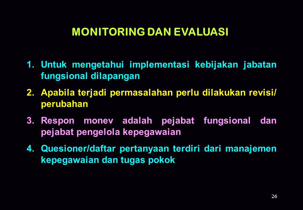 26 1.Untuk mengetahui implementasi kebijakan jabatan fungsional dilapangan 2.Apabila terjadi permasalahan perlu dilakukan revisi/ perubahan 3.Respon m