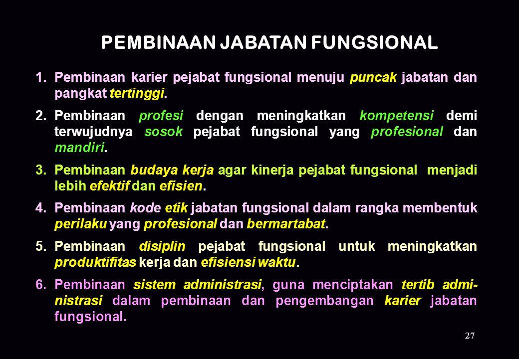 27 1.Pembinaan karier pejabat fungsional menuju puncak jabatan dan pangkat tertinggi. 2.Pembinaan profesi dengan meningkatkan kompetensi demi terwujud