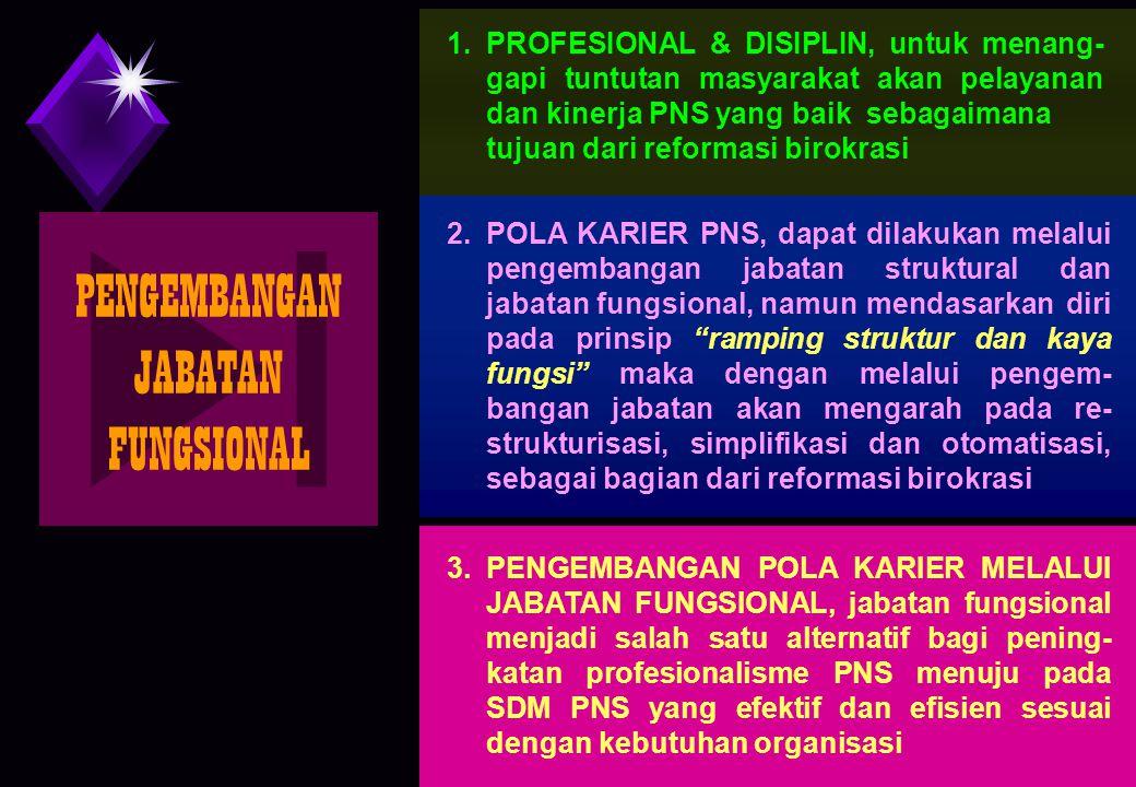 28 PENGEMBANGAN JABATAN FUNGSIONAL 2.POLA KARIER PNS, dapat dilakukan melalui pengembangan jabatan struktural dan jabatan fungsional, namun mendasarka