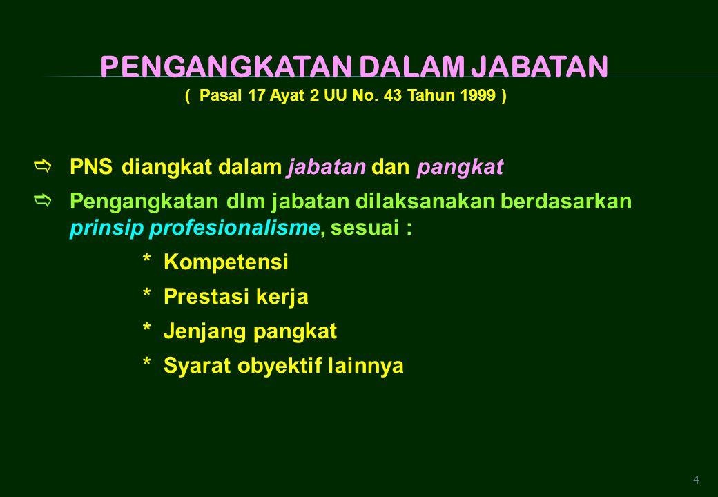 4 ( Pasal 17 Ayat 2 UU No. 43 Tahun 1999 )  PNS diangkat dalam jabatan dan pangkat  Pengangkatan dlm jabatan dilaksanakan berdasarkan prinsip profes