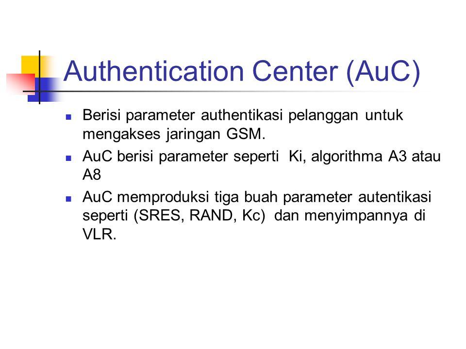 Authentication Center (AuC)  Berisi parameter authentikasi pelanggan untuk mengakses jaringan GSM.  AuC berisi parameter seperti Ki, algorithma A3 a