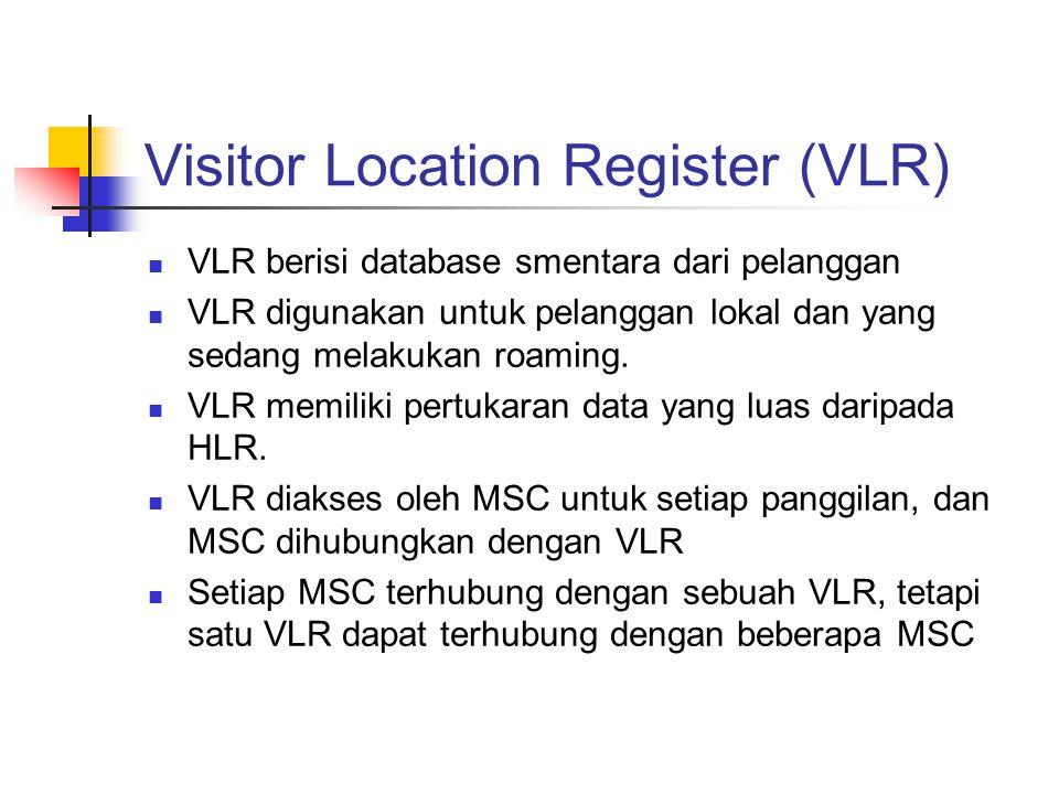 Visitor Location Register (VLR)  VLR berisi database smentara dari pelanggan  VLR digunakan untuk pelanggan lokal dan yang sedang melakukan roaming.