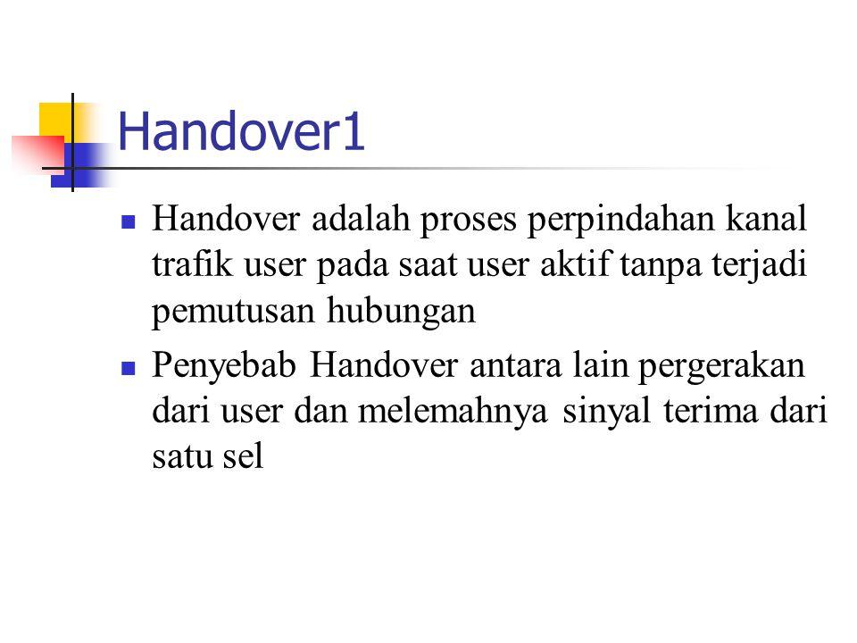 Handover1  Handover adalah proses perpindahan kanal trafik user pada saat user aktif tanpa terjadi pemutusan hubungan  Penyebab Handover antara lain