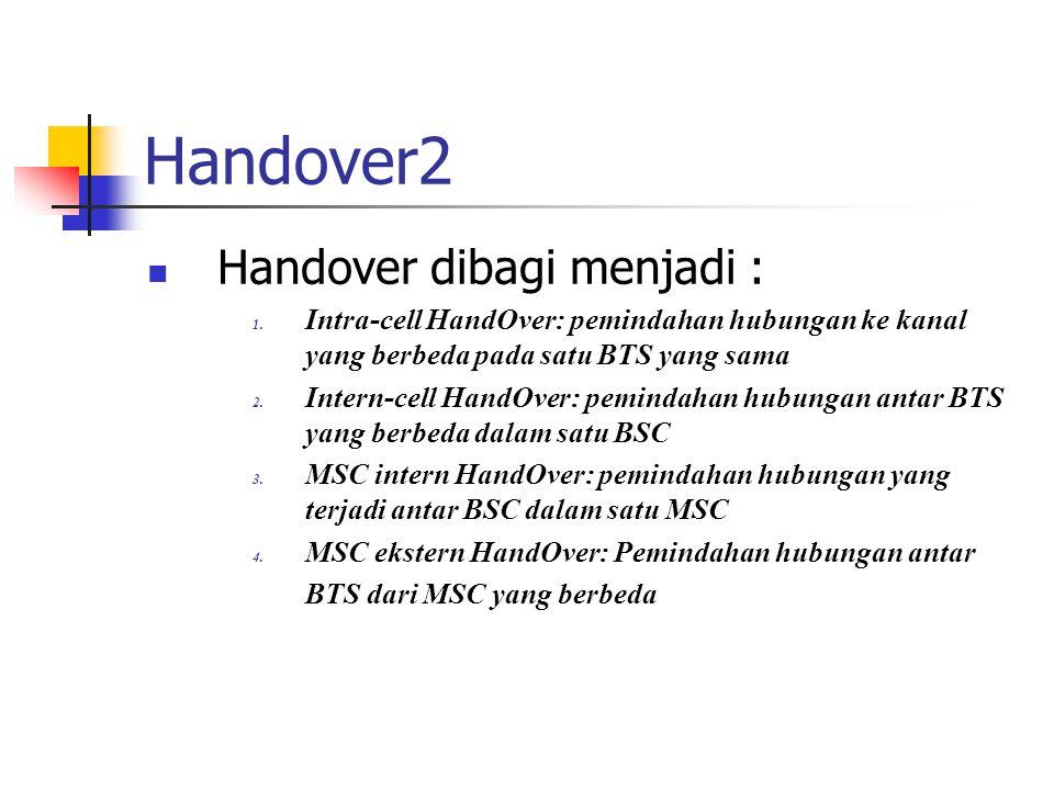 Handover2  Handover dibagi menjadi : 1. Intra-cell HandOver: pemindahan hubungan ke kanal yang berbeda pada satu BTS yang sama 2. Intern-cell HandOve