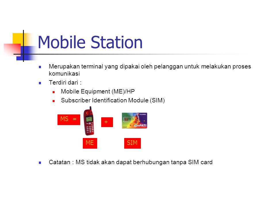 Mobile Station  Merupakan terminal yang dipakai oleh pelanggan untuk melakukan proses komunikasi  Terdiri dari :  Mobile Equipment (ME)/HP  Subscr