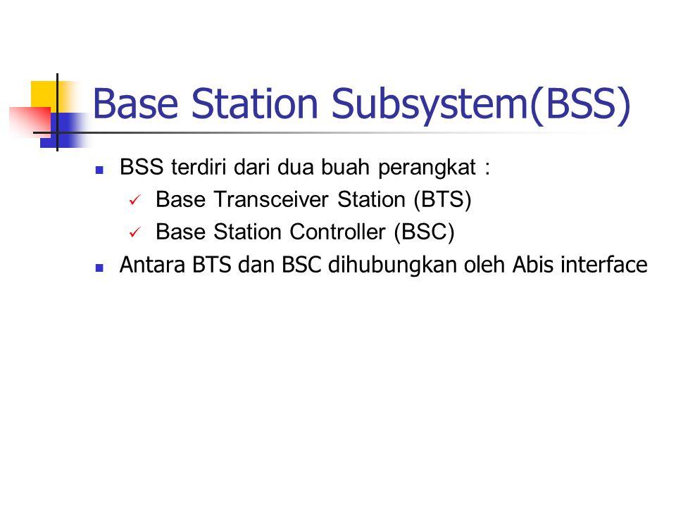 Base Station Subsystem(BSS)  BSS terdiri dari dua buah perangkat :  Base Transceiver Station (BTS)  Base Station Controller (BSC)  Antara BTS dan