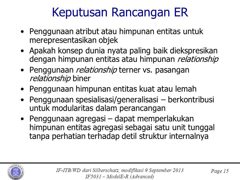 IF-ITB/WD dari Silberschatz, modifikasi 9 September 2013 IF5031 – ModelE-R (Advanced) Page 15 Keputusan Rancangan ER •Penggunaan atribut atau himpunan