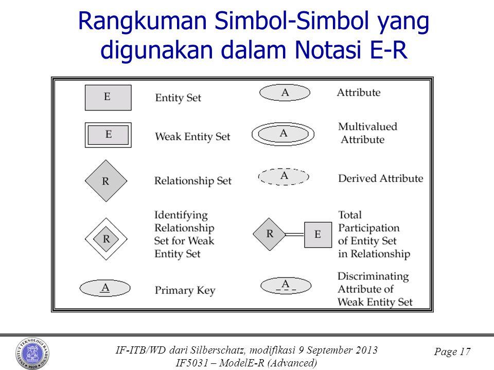 IF-ITB/WD dari Silberschatz, modifikasi 9 September 2013 IF5031 – ModelE-R (Advanced) Page 17 Rangkuman Simbol-Simbol yang digunakan dalam Notasi E-R
