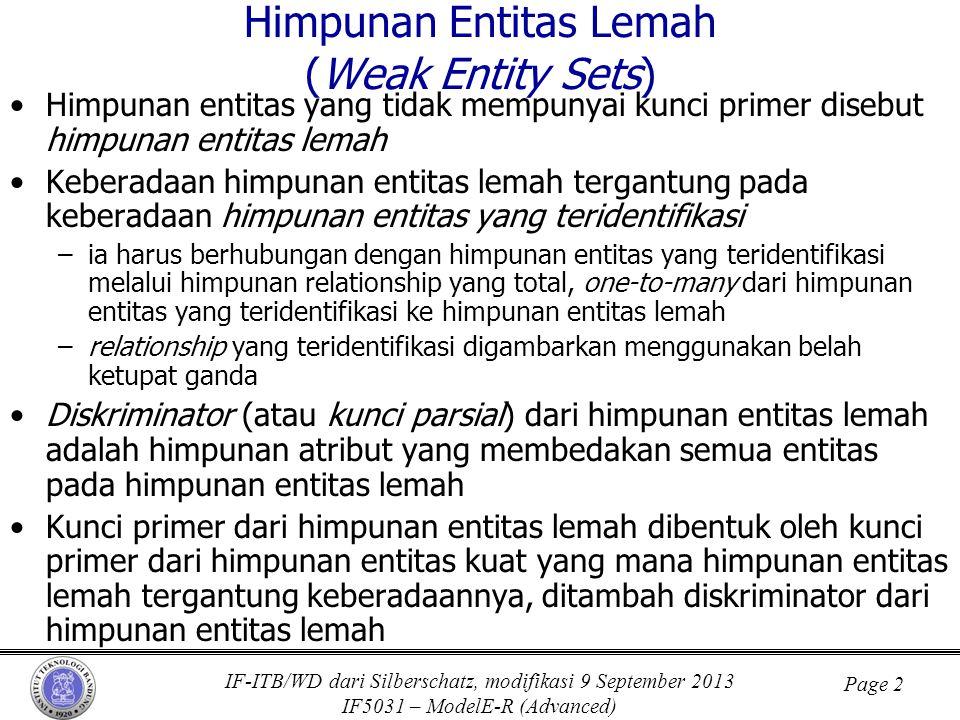 IF-ITB/WD dari Silberschatz, modifikasi 9 September 2013 IF5031 – ModelE-R (Advanced) Page 2 Himpunan Entitas Lemah (Weak Entity Sets) •Himpunan entit