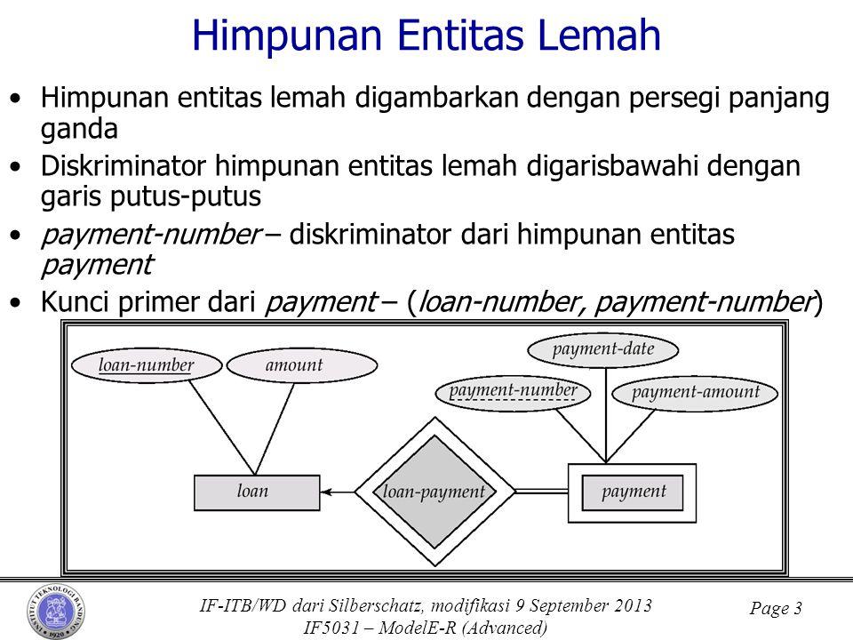IF-ITB/WD dari Silberschatz, modifikasi 9 September 2013 IF5031 – ModelE-R (Advanced) Page 3 Himpunan Entitas Lemah •Himpunan entitas lemah digambarka