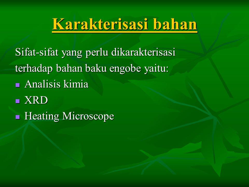 Karakterisasi bahan Sifat-sifat yang perlu dikarakterisasi terhadap bahan baku engobe yaitu:  Analisis kimia  XRD  Heating Microscope