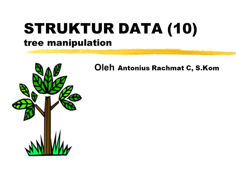 Konversi Tree Biasa ke Binary Tree Anak pertama menjadi anak kiri, anak ke-2 menjadi cucu kanan, ke-3 jadi cicit kanan dst