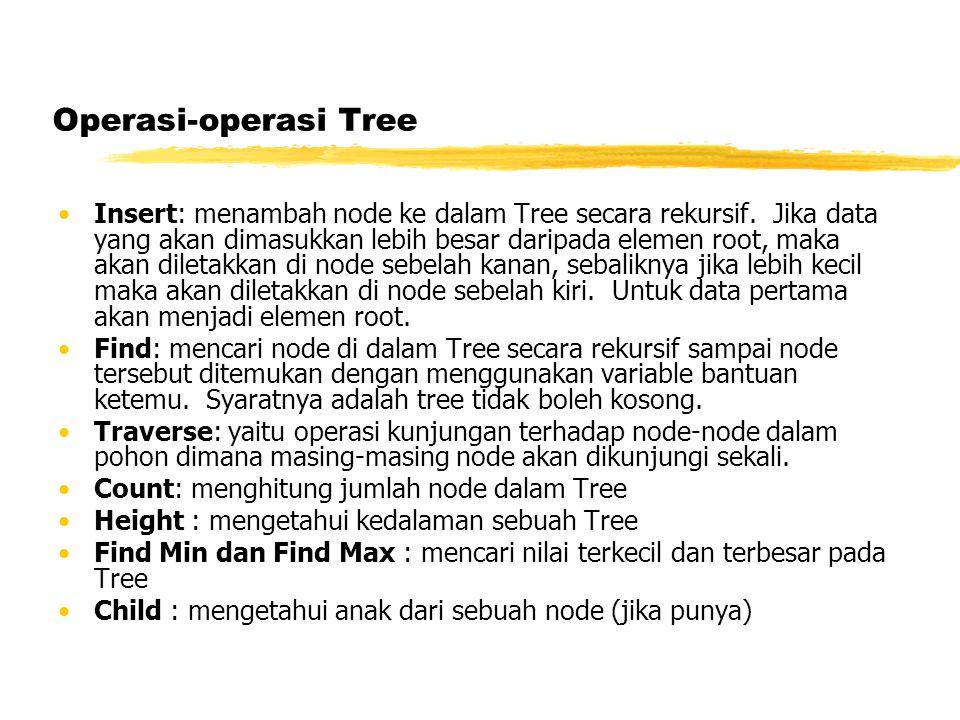 Operasi-operasi Tree •Insert: menambah node ke dalam Tree secara rekursif.
