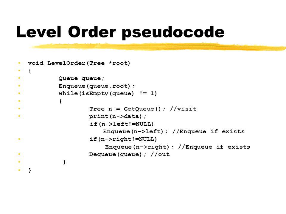Level Order pseudocode •void LevelOrder(Tree *root) •{ • Queue queue; • Enqueue(queue,root); • while(isEmpty(queue) != 1) • { • Tree n = GetQueue(); //visit • print(n->data); if(n->left!=NULL) Enqueue(n->left); //Enqueue if exists • if(n->right!=NULL) Enqueue(n->right); //Enqueue if exists • Dequeue(queue); //out • }