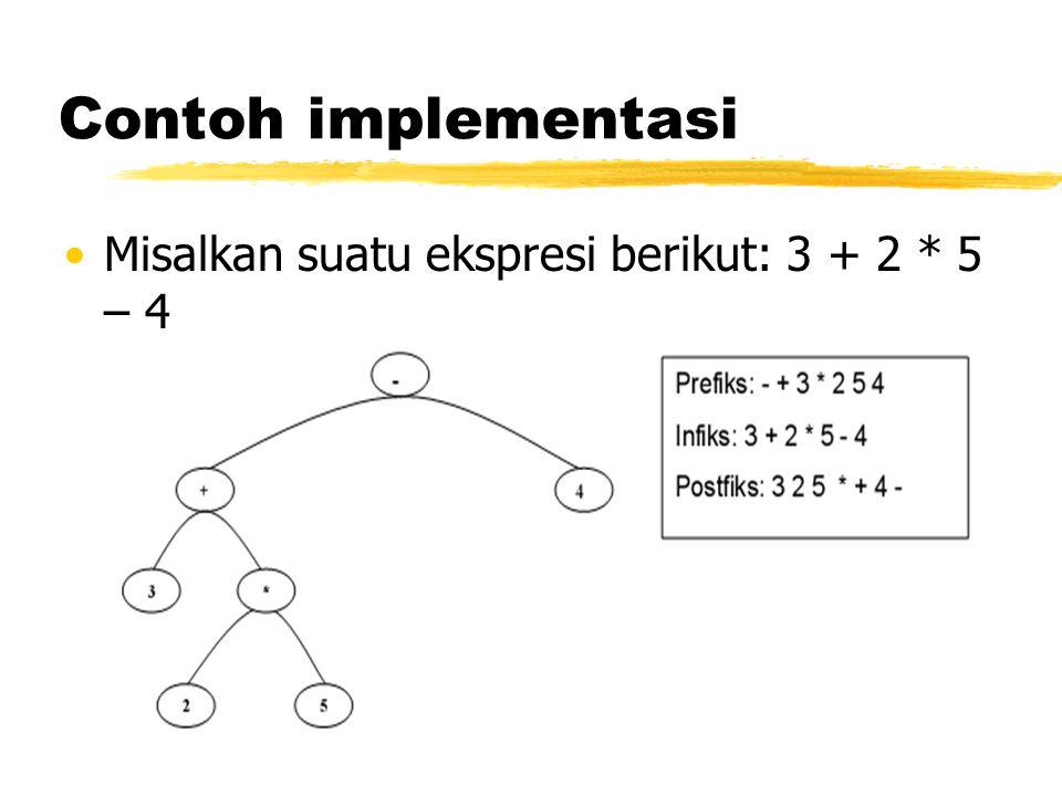 Contoh implementasi •Misalkan suatu ekspresi berikut: 3 + 2 * 5 – 4