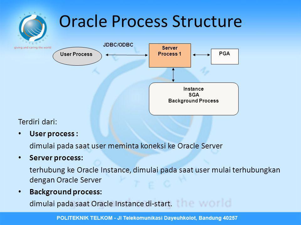 Oracle Process Structure Terdiri dari: • User process : dimulai pada saat user meminta koneksi ke Oracle Server • Server process: terhubung ke Oracle