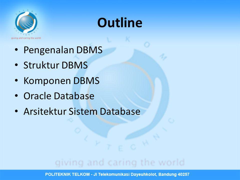 Pengenalan DBMS • Database Management System (DBMS) adalah kumpulan dari program-program yang mengijinkan user untuk melakukan create, maintain, dan control terhadap semua kegiatan yang mengakses database.