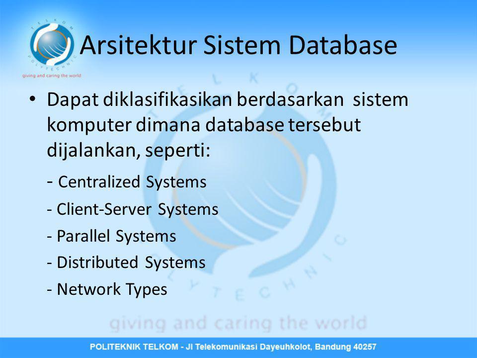 Arsitektur Sistem Database • Dapat diklasifikasikan berdasarkan sistem komputer dimana database tersebut dijalankan, seperti: - Centralized Systems -
