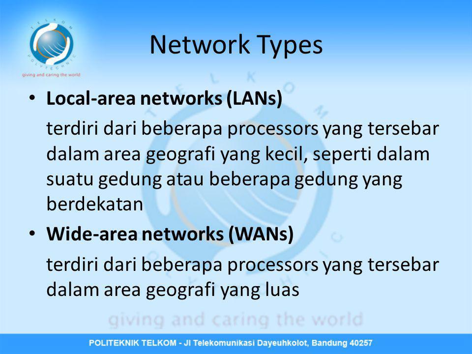 Network Types • Local-area networks (LANs) terdiri dari beberapa processors yang tersebar dalam area geografi yang kecil, seperti dalam suatu gedung a