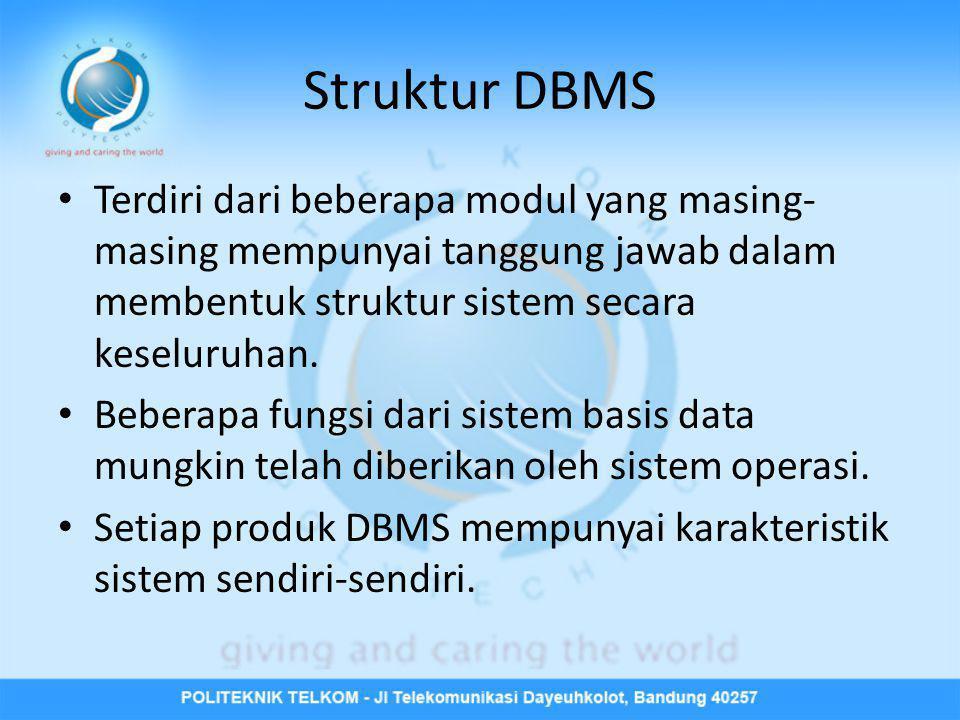 Struktur DBMS • Terdiri dari beberapa modul yang masing- masing mempunyai tanggung jawab dalam membentuk struktur sistem secara keseluruhan. • Beberap