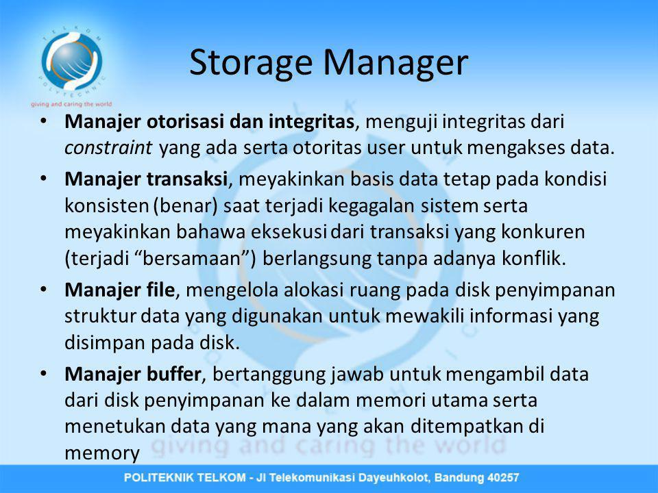 Storage Manager • Manajer otorisasi dan integritas, menguji integritas dari constraint yang ada serta otoritas user untuk mengakses data. • Manajer tr