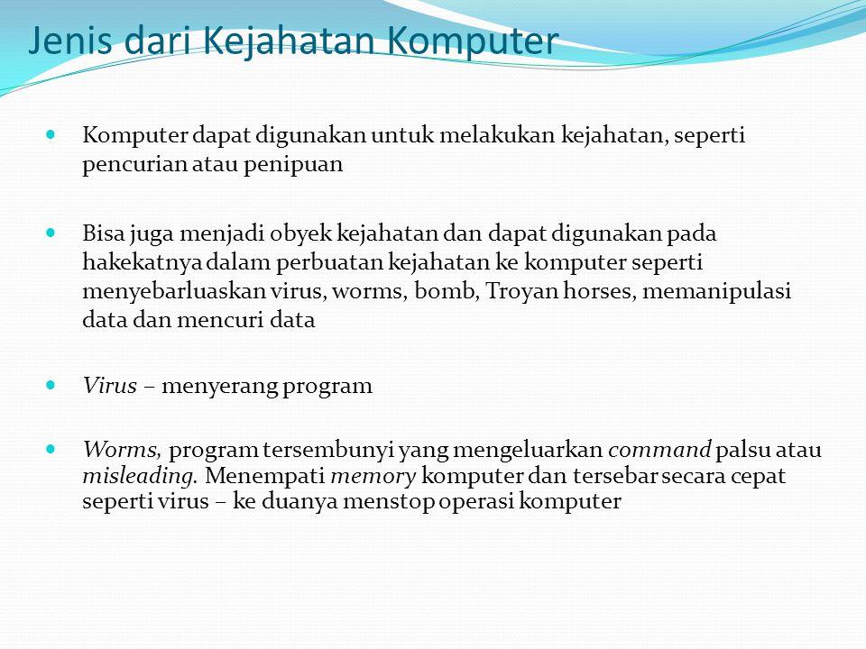 Jenis dari Kejahatan Komputer  Komputer dapat digunakan untuk melakukan kejahatan, seperti pencurian atau penipuan  Bisa juga menjadi obyek kejahata