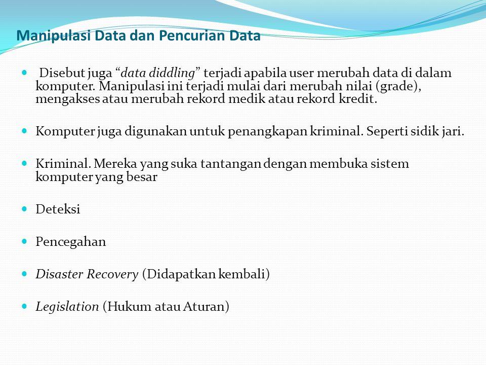 """Manipulasi Data dan Pencurian Data  Disebut juga """"data diddling"""" terjadi apabila user merubah data di dalam komputer. Manipulasi ini terjadi mulai da"""