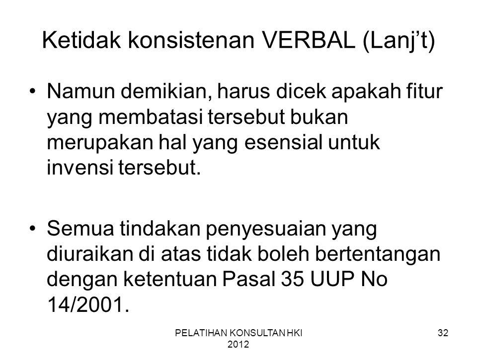 32 Ketidak konsistenan VERBAL (Lanj't) •Namun demikian, harus dicek apakah fitur yang membatasi tersebut bukan merupakan hal yang esensial untuk inven