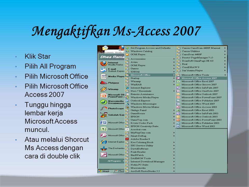 Mengaktifkan Ms-Access 2007 • Klik Star • Pilih All Program • Pilih Microsoft Office • Pilih Microsoft Office Access 2007 • Tunggu hingga lembar kerja Microsoft Access muncul.
