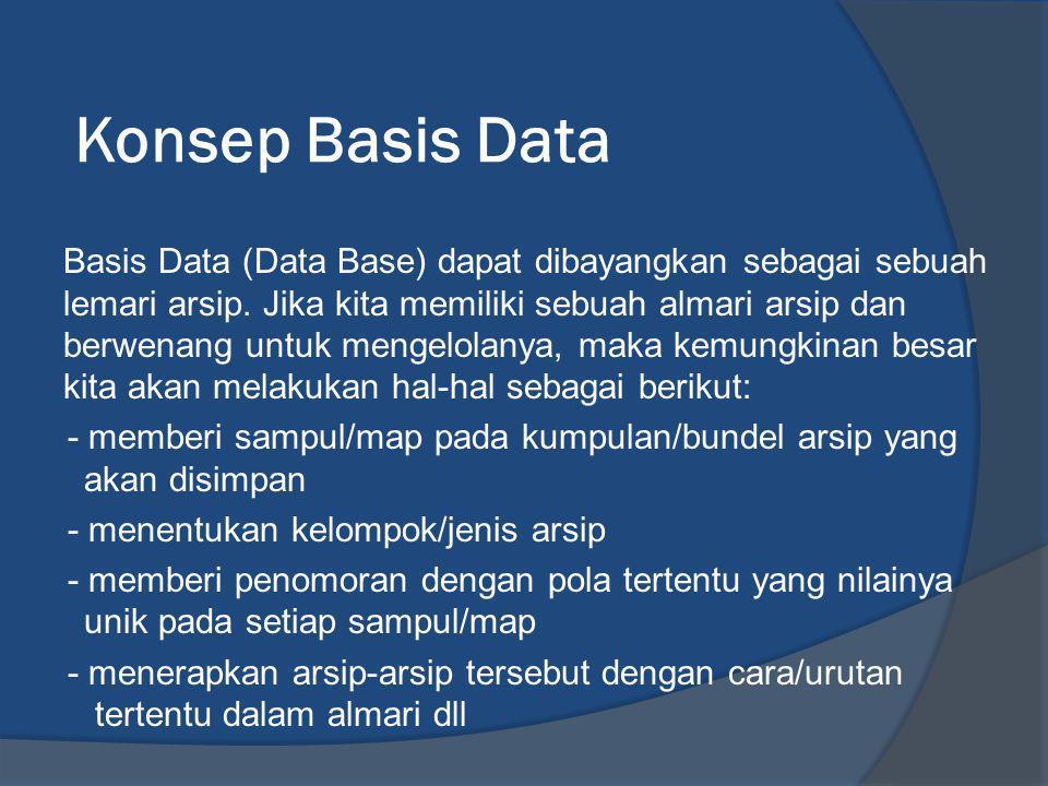 Bagian –bagian Lembar Kerja BagianFungsi Table Tabel merupakan kumpulan dari beberapa record dan field yang dugunakan untuk memasukan data.