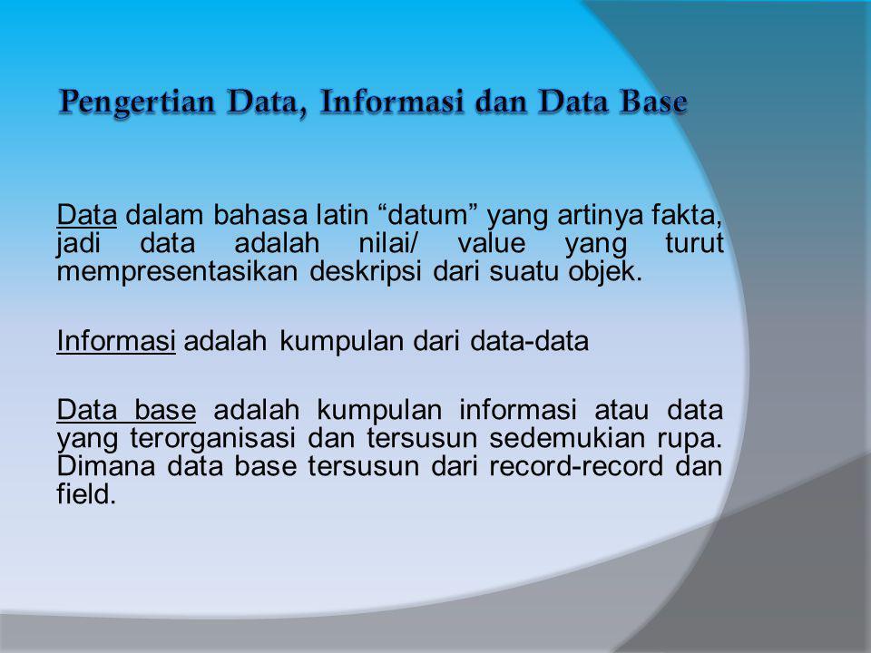Data dalam bahasa latin datum yang artinya fakta, jadi data adalah nilai/ value yang turut mempresentasikan deskripsi dari suatu objek.