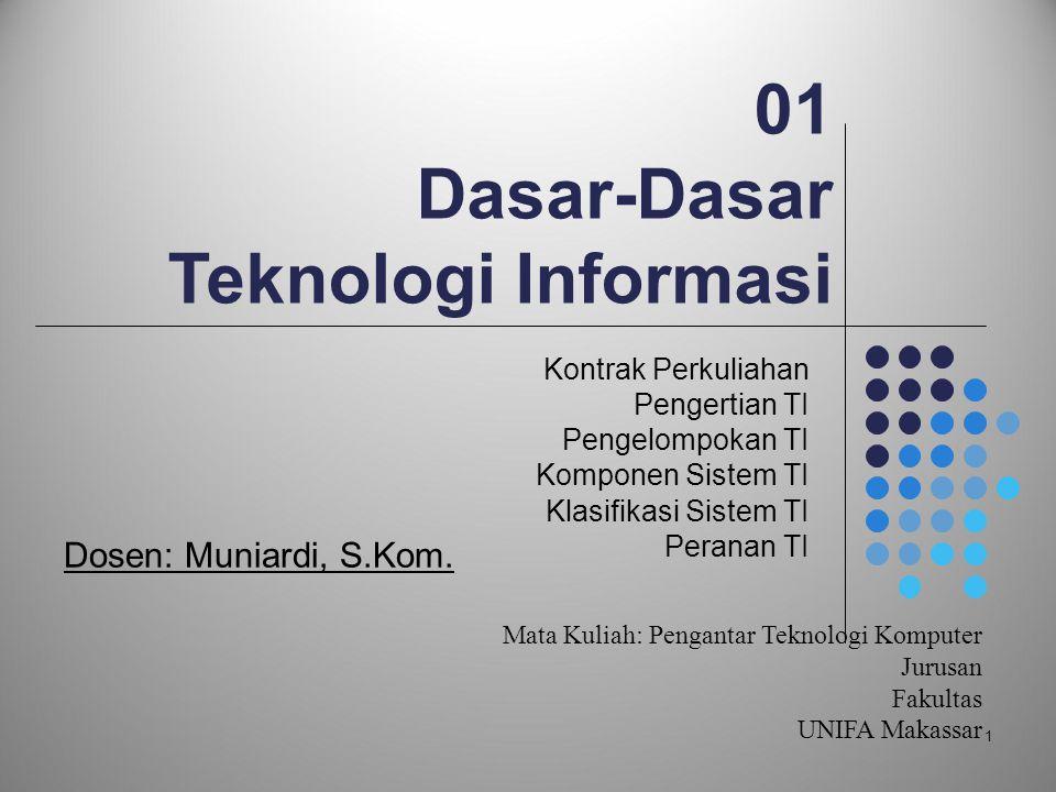 1 01 Dasar-Dasar Teknologi Informasi Kontrak Perkuliahan Pengertian TI Pengelompokan TI Komponen Sistem TI Klasifikasi Sistem TI Peranan TI Dosen: Mun